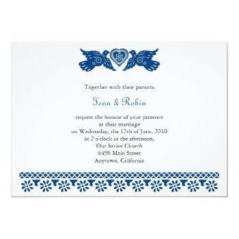 dark blue love birds papel picado banner invitation