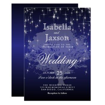 dark blue under the stars wedding invitation