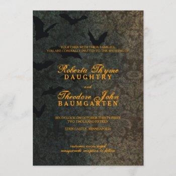 dark damask halloween wedding invitation