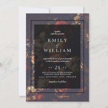 dark dramatic moody autumn floral wedding invitation