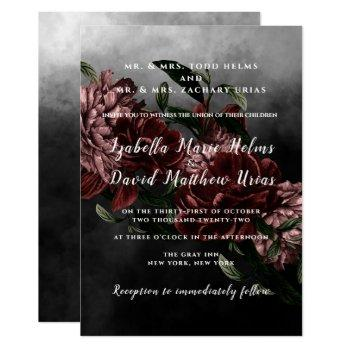 dark moody floral wedding invitation