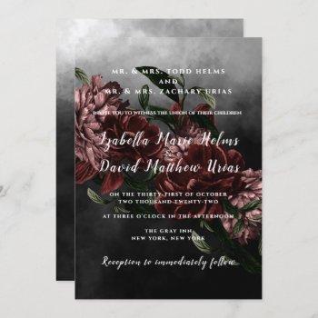 dark moody floral wedding invitation