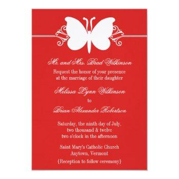 dark red butterfly swirls wedding invite
