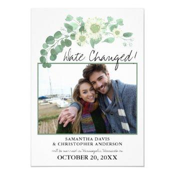 date changed wedding eucalyptus blooming greens invitation