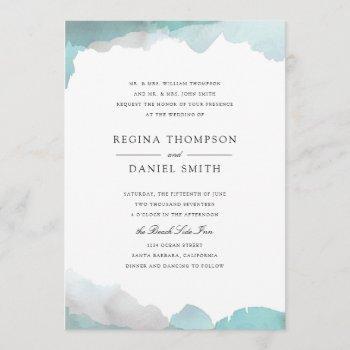 debonair turquoise wedding invitation