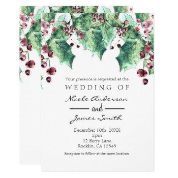 december winter wedding holly berry holiday invitation