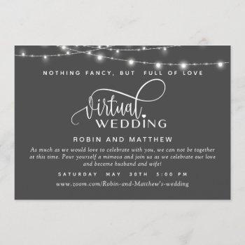 deep gray, string lights, online virtual wedding invitation