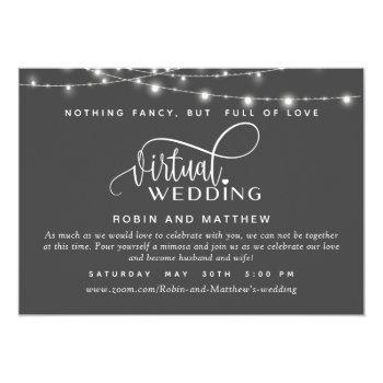 Small Deep Gray, String Lights, Online Virtual Wedding Invitation Front View