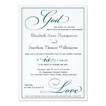 deep green god is love christian wedding invitation