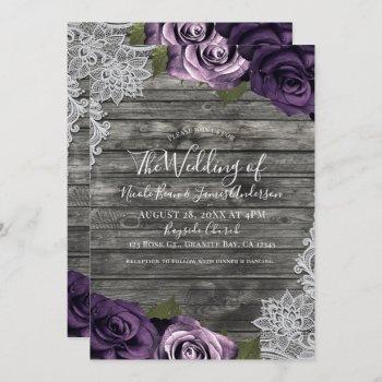 deep purple roses grey rustic white lace wedding invitation