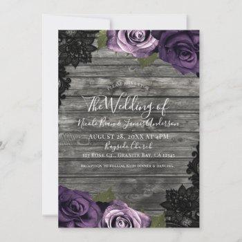 deep purple roses rustic wood black lace wedding invitation