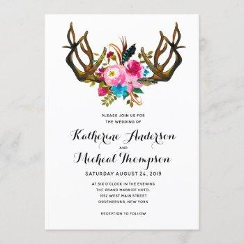 deer antler floral wedding invitation