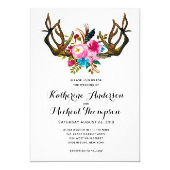 deer antler floral wedding invitation