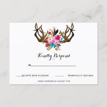 deer antler floral wedding response card