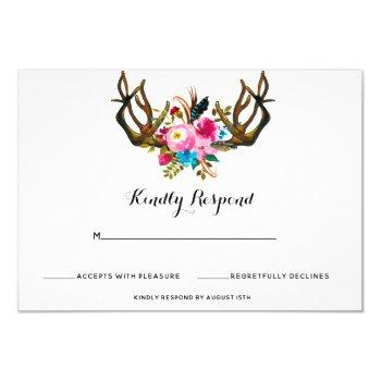 deer antler floral wedding response card