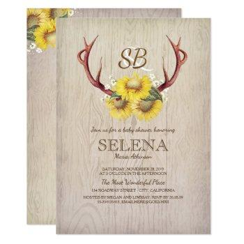 deer antlers and sunflower rustic baby shower invitation