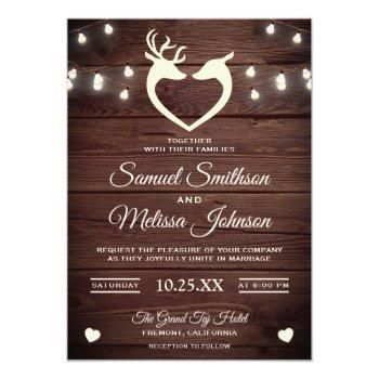 deer heart string lights rustic wood wedding invitation