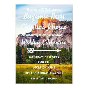 deer & mountains wedding invitation