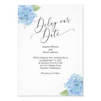 delay our date hydrangea floral invitation