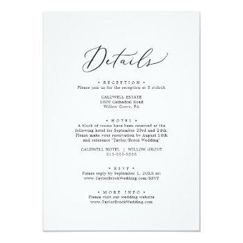 Small Delicate Black Calligraphy All In One Wedding Invitation Back View