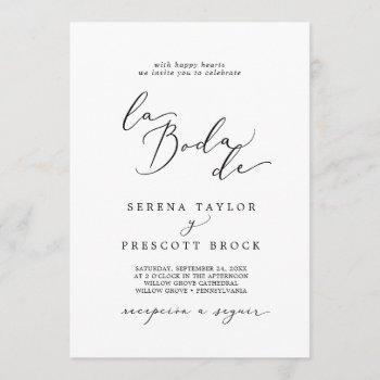 delicate black calligraphy la boda de wedding invitation