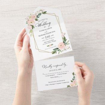 delicate blush pink floral geometric wedding all in one invitation