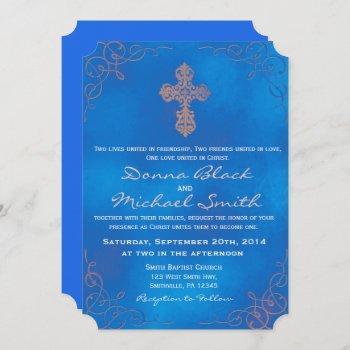delicate cross religious wedding invitations