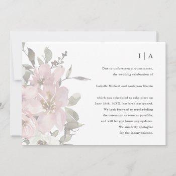 delicate floral wedding postponement announcement