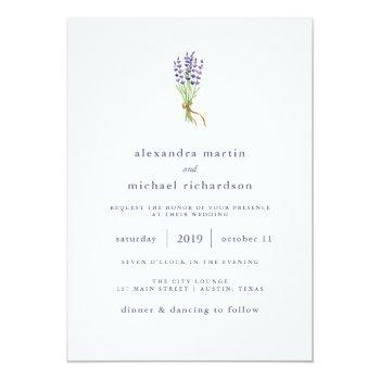 Small Delicate French Lavender Wedding Invitation Front View