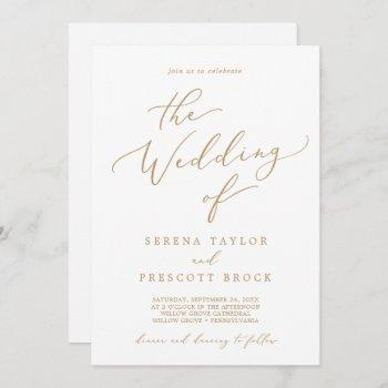delicate gold calligraphy all in one wedding invitation