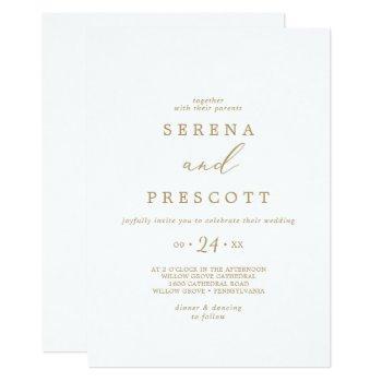 delicate gold calligraphy casual wedding invitation
