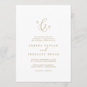 delicate gold calligraphy formal monogram wedding invitation