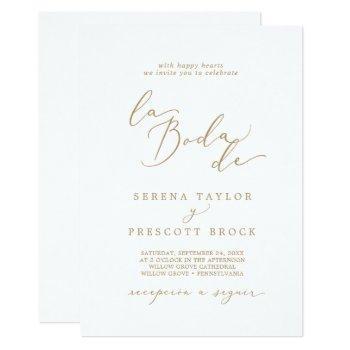 delicate gold calligraphy la boda de wedding invitation