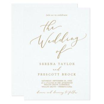 delicate gold calligraphy the wedding of invitation