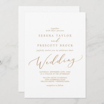 delicate gold calligraphy wedding invitation