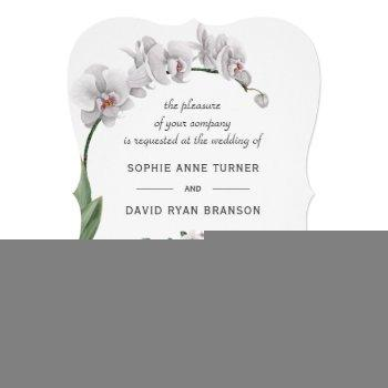 delicate luau watercolor white orchid wedding invitation
