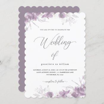 delicate purple floral with calligraphy wedding invitation