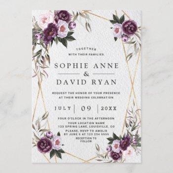 delicate purple pink peony flowers gold wedding invitation