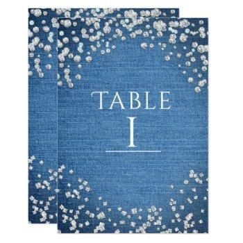 denim & diamonds glam scattered bling table number