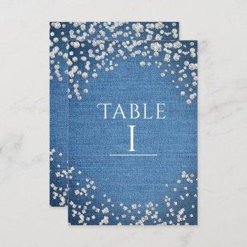 denim & diamonds glam scattered bling table number