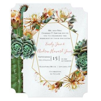 desert cactus succulent gold geometric invitation
