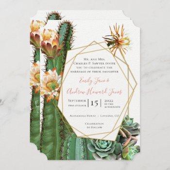 desert cactus succulent gold geometric metallic invitation