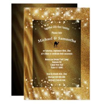 desert camel dune sands night stars wedding invitation