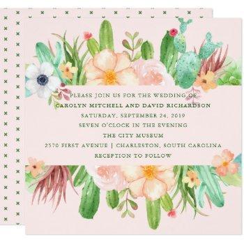 desert pink succulent wedding invitation