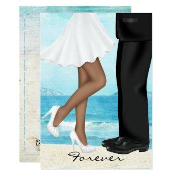 destination beach wedding with bride and groom invitation