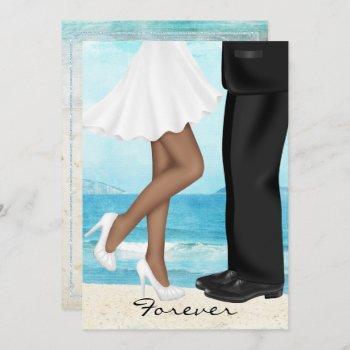 destination beach wedding with bride and groom invitation