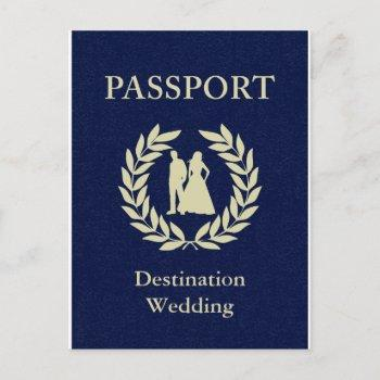 destination wedding passport invitation postcard
