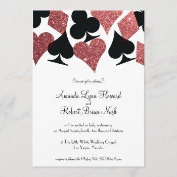 destiny las vegas wedding invite rose gold glitter