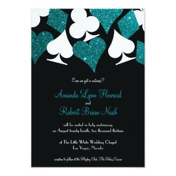 destiny las vegas wedding invite teal blue glitter