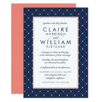 diamond dot wedding invitation | coral and navy
